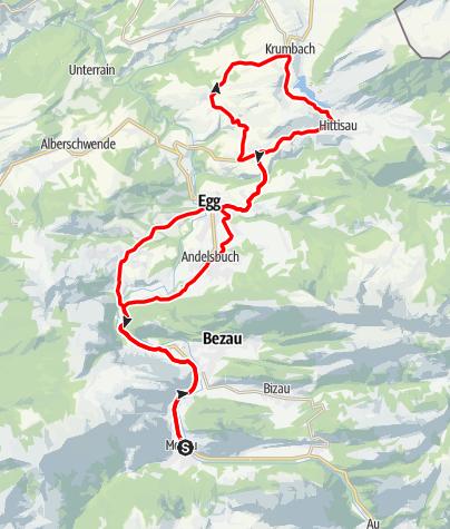 Karte / Mellau l Rennrad Mellau - Vorderwald
