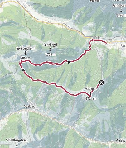 Karte / Saalachtaler Höhenweg WEST (Asitz-Spielbergalmen)
