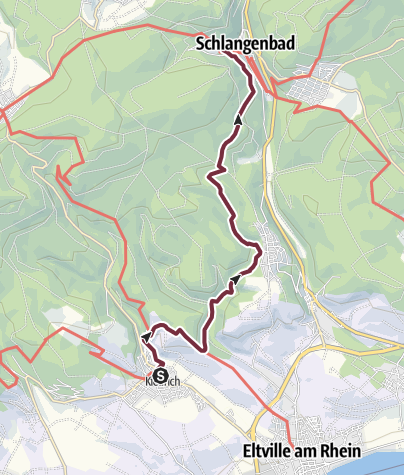 Karte / Rheinsteig 20. Etappe Kiedrich - Schlangenbad (Nord-Süd)