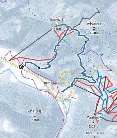 Map / Anspruchsvolle Schneeschuhtour von Osterhofen zum Wendelstein und nach Bayrischzell