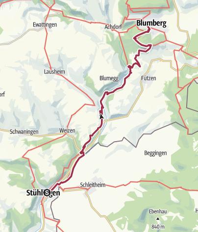 Karte / Schluchtensteig Schwarzwald Etappe 1 von  Stühlingen nach Blumberg