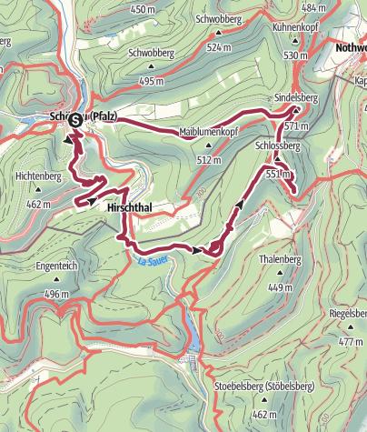 Karte / Felsen- und Burgenwanderung im Pfälzerwald mit traumhaften Aussichten