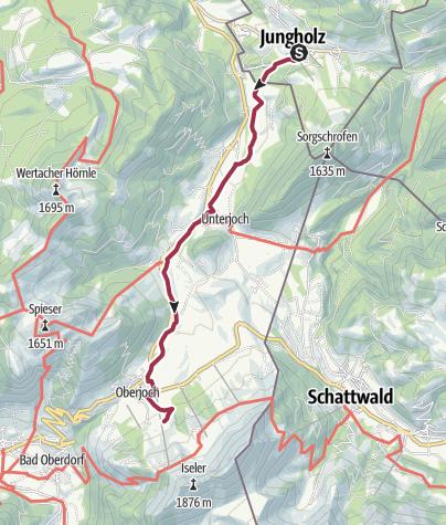 Karte / Von Jungholz auf die Gundalpe in Oberjoch