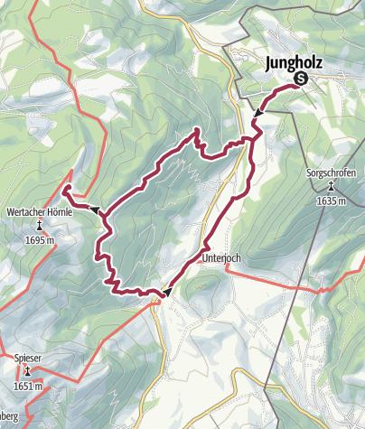 Karte / Wanderung Jungholz - Schnitzlertal Alpe in Wertach und über Unterjoch zurück