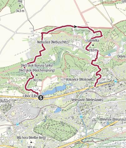 Karte / Wilde Sarka im Nordwesten von Prag