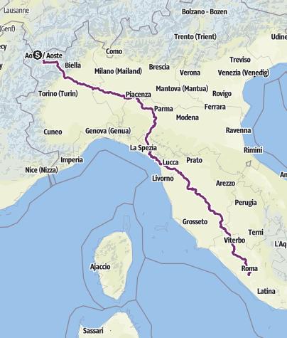 Cartina / Via Francigena in bici - Da Aosta a Roma