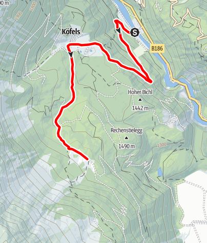Karte / E-Bike Tour über Köfels nach Wurzberg (695)