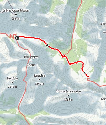 Map / Übergang Karwendelhaus zur Falkenhütte