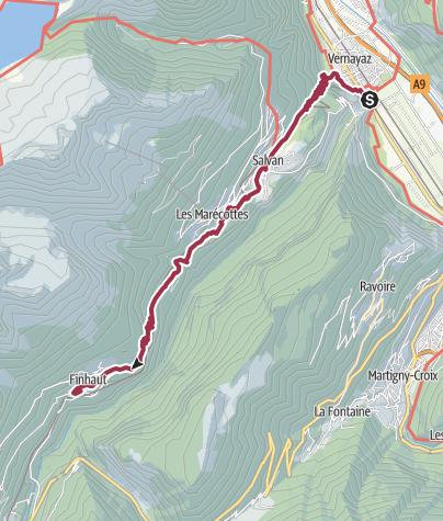 Map / Route des Diligences through Vallée de Trient