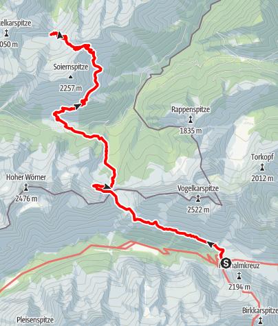 Map / Übergang Karwendelhaus zum Oberen Soiernhaus