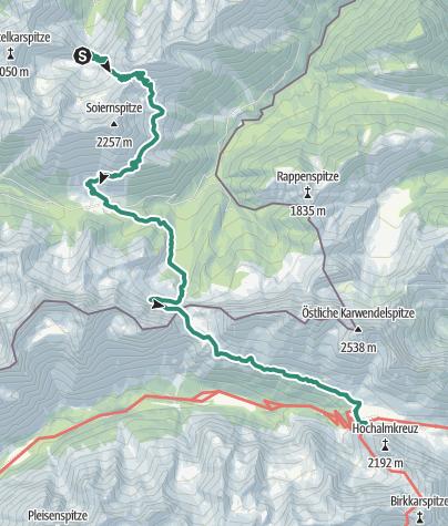 Map / Übergang Oberes Soiernhaus zum Karwendelhaus