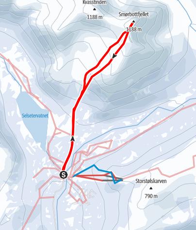 Karte / Smorbottfjellet (1.188 m) - Modeskiberg am Isfjord