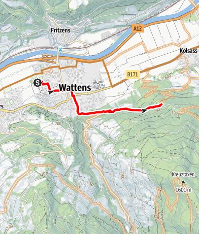 Karte / Wattens - Jausenstation Gartlach Kolsassberg