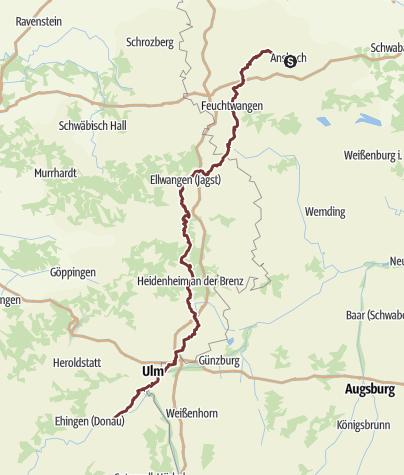 """Karte / Jakobusweg Ansbach - Ulm / Oberdischingen  """"Zwischen Städten und Klöstern"""""""