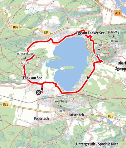 Karte / Spazieren am Faaker See - Seerundweg rund um den Faaker See