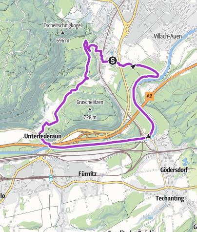 Karte / Lauf und Trailrunning Arena Warmbad-Villach - Federaun Runde