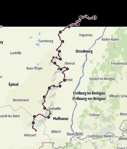 Carte / Traversée du Massif des Vosges à pied - Wissembourg / Belfort - Rectangle rouge - GR®5