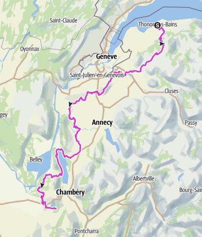 Carte / Les 3 grands lacs des Savoies, Léman, Bourget et Aiguebelette, à vélo ou VAE