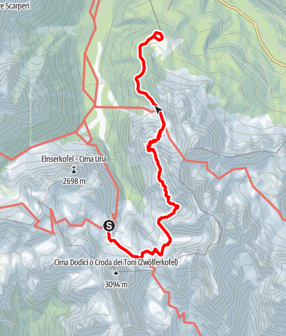 Map / Alpine tour - Dolomites without borders - stage 4 – Rif. Comici - Rif. Prati di Croda Rossa/Rif. Rudi