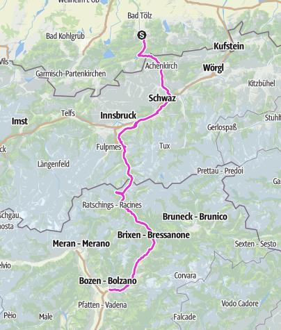 Karte / Transalp Tagestour - Lenggries Achensee Brenner Bozen