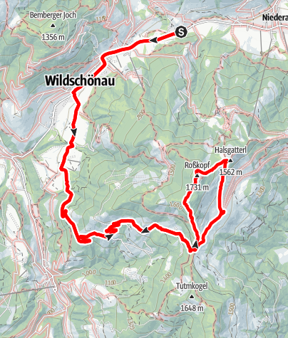 Map / Roßkopf 1562m Bike&Hike von Wildschönau