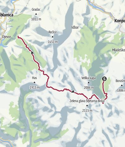 Map / From Ravna via Međuprenje &Jezerce