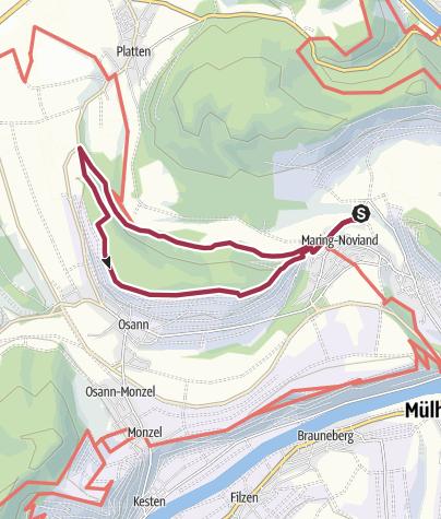 Karte / Hüttenkopfweg in Maring-Noviand an der Mosel