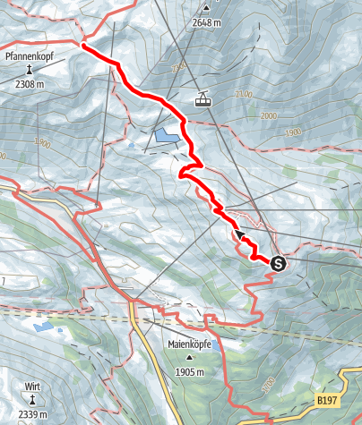 Map / Zustieg Ulmer Hütte von Bergstation Galzig