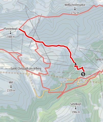 Map / Zustieg Ulmer Hütte von St. Anton