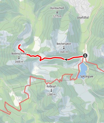 Map / Zustieg Bodenschneidhaus vom Spitzingsattel
