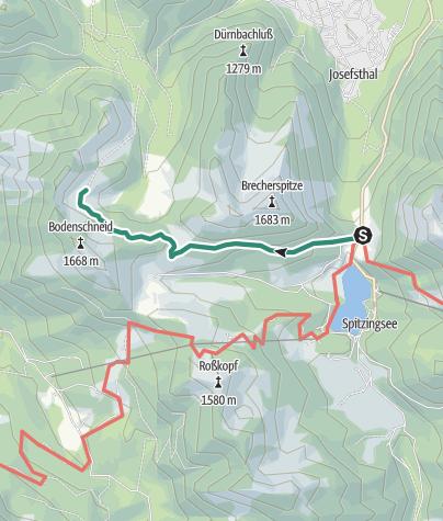 Karte / Zustieg Bodenschneidhaus vom Spitzingsattel