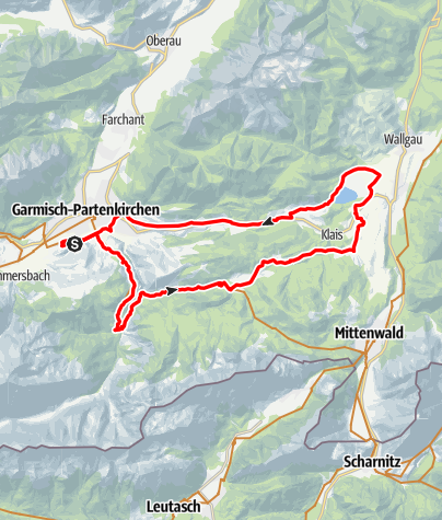 Map / E-Bike Runde: GAP - Partnach Alm - Elmau - Barmsee