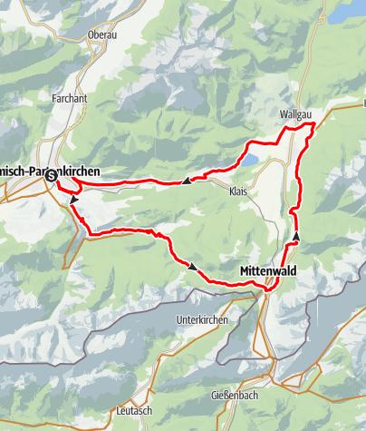 Karte / 5-Seen-Runde: GAP - Graseck - Elmau - Mittenwald - Wallgau - GAP