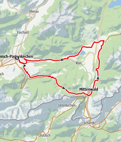 Map / E-Bike Runde: GAP -  Graseck - Elmau - Wallgau (7-Seen-Runde)