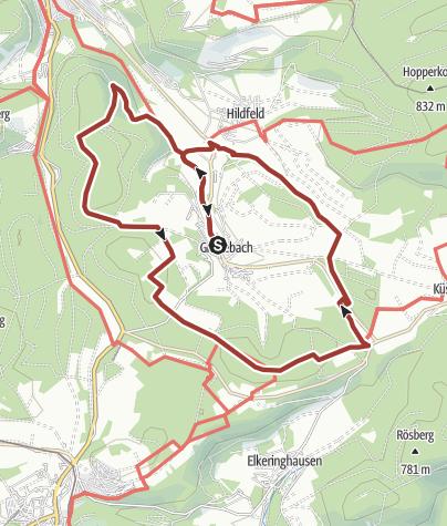 Karte / Der Groimecke Rundweg - Historische Wege und Rothaarsteig, Start in Winterberg-Grönebach
