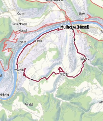 Karte / Weindörferweg an der Mosel