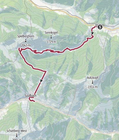 Karte / Saalachtaler Höhenweg - 2 Tag - Variante A