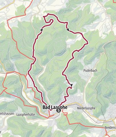 """Karte / L6 / L7 - Laaspher Ortswanderweg """"Nach Sassenhausen über Schloss Wittgenstein und wieder zurück über das Harfeld"""""""