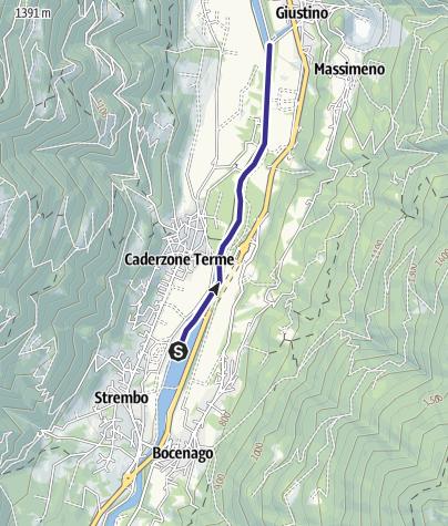 Cartina / Fiume Sarca Tione-Pinzolo da confluenza Sarca Val Genova a confluenza Arnò B