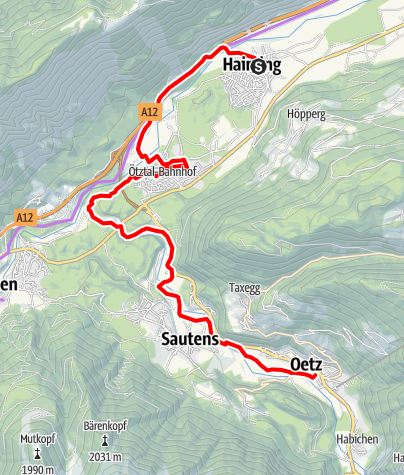 Map / Ötztal Cycling Path Stage 1: Haiming - Oetz