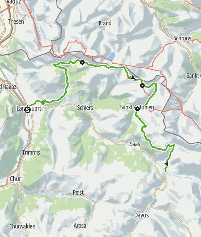 Karte / 72 Prättigauer Höhenweg: in 4 Tagen von Klosters nach in die Bündner Herrschaft, nach Malans (4 Etappen)