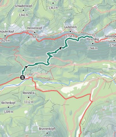 Karte / Zustieg August Schuster Haus von Linderhof