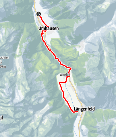 Map / Ötztal Cycling Path Stage 3: Umhausen - Längenfeld