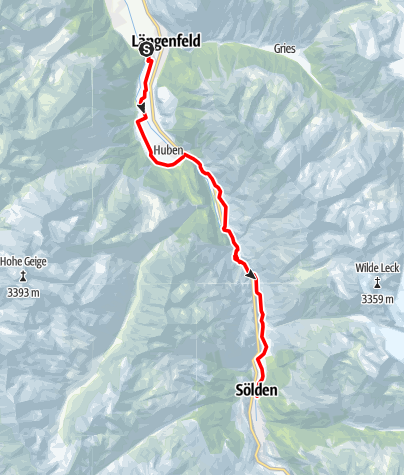 Map / Ötztal Cycling Path Stage 3: Längenfeld - Sölden