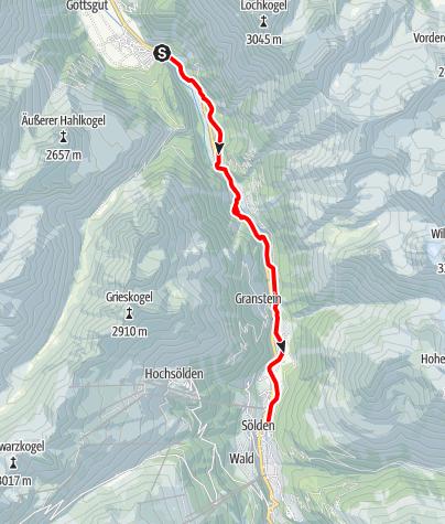 Karte / Ötztal Radweg Etappe 4: Längenfeld - Sölden