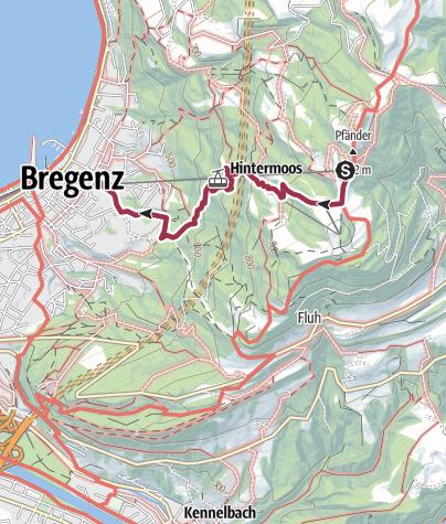 Karte / Pfänderbahn Bergstation - Gschliefweg – Pfänderbahn Talstation
