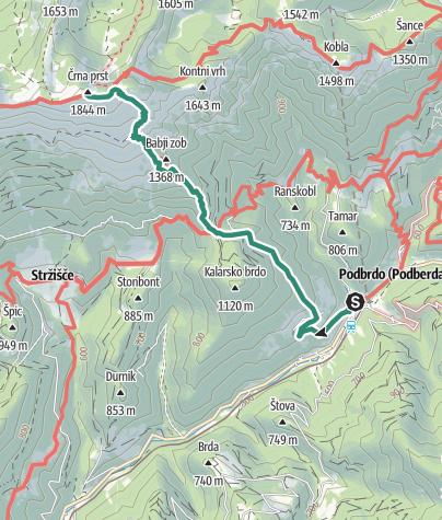 Cartina / Črna prst (1844 m), giardino botanico alpino