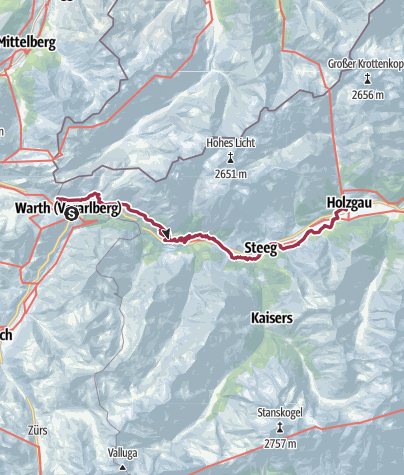 Map / Bus to Warth, walk to Holzgau