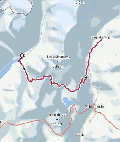 Map / Rifugio Prarayer to Perreres / Breuil-Cervinia