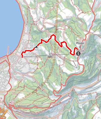 Karte / Bregenz – Pfänderbahn Bergstation – Lohorn – Altreute – Talstation